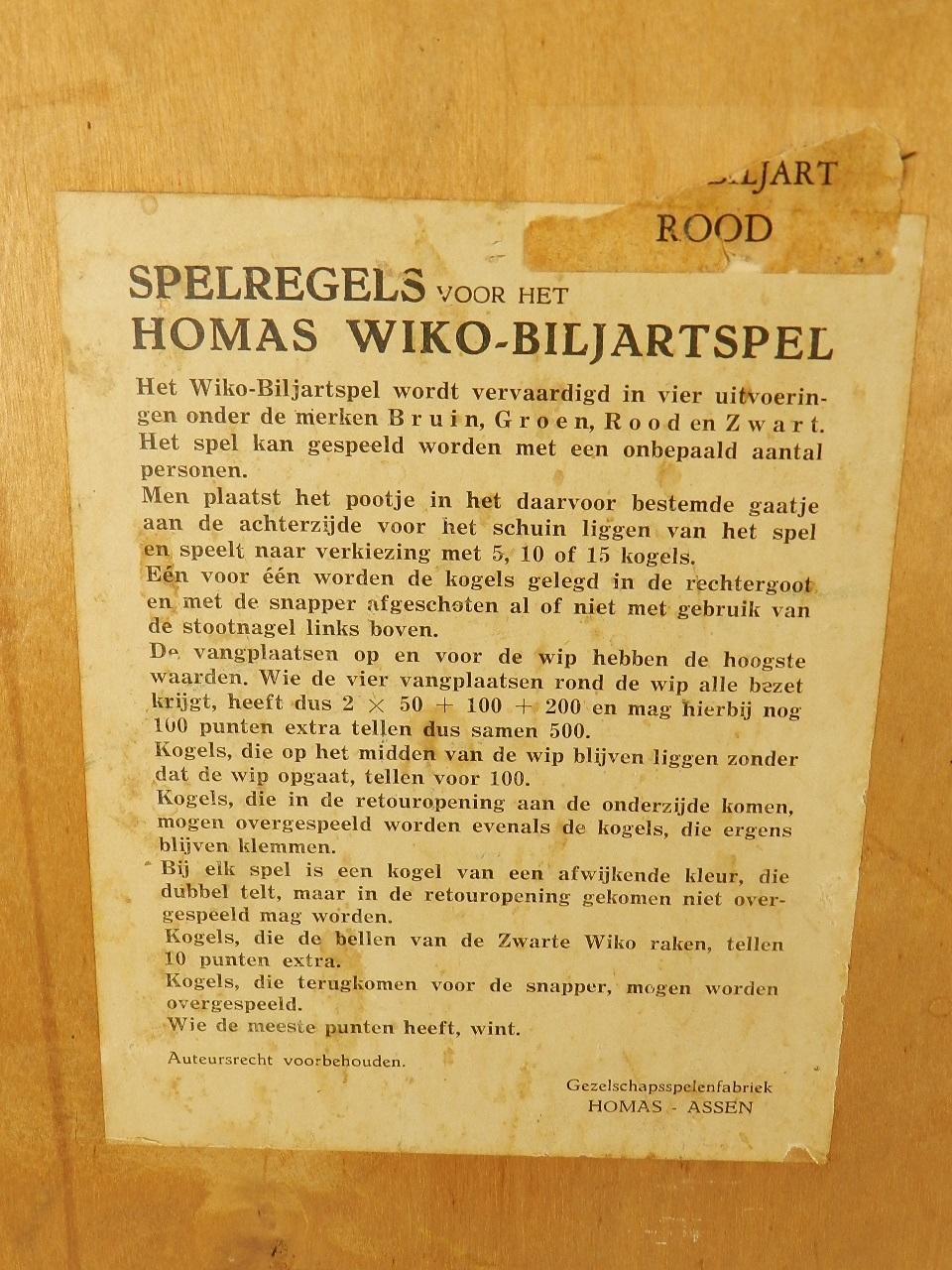 Imagen JUEGO WIKO BILJART DE BOLAS 1940 36707