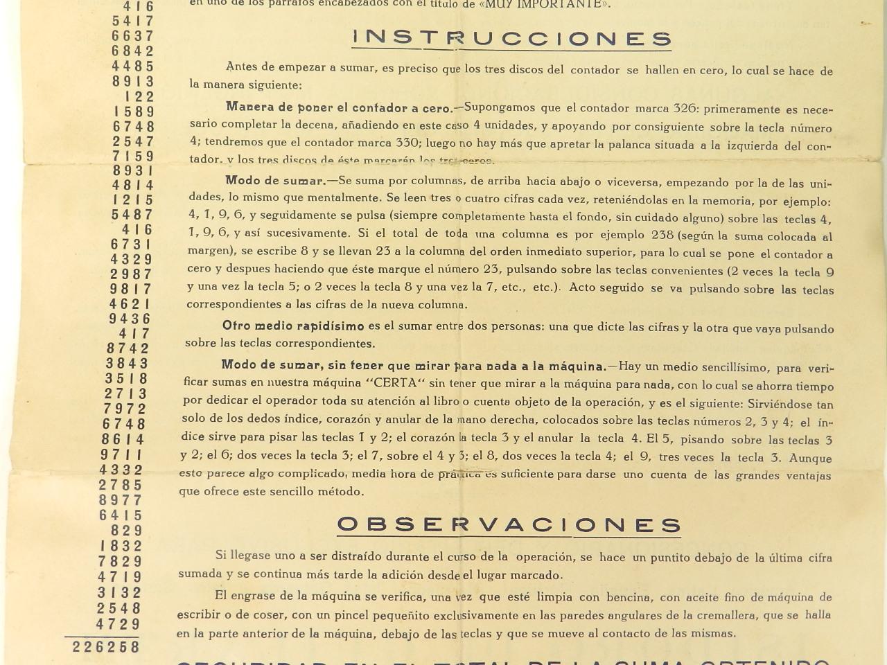 Imagen SUMADORA CERTA  1908 + INSTRUCCIONES CASTELLANO 42917