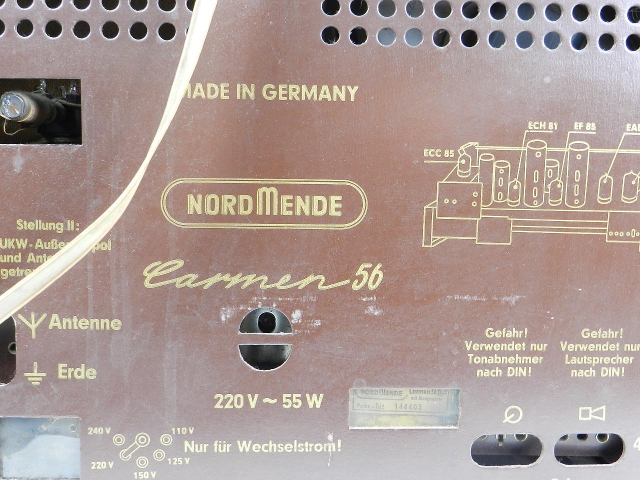 Imagen RADIO NORDMENDE Mod. CARMEN 56  AÑO 1956 27918