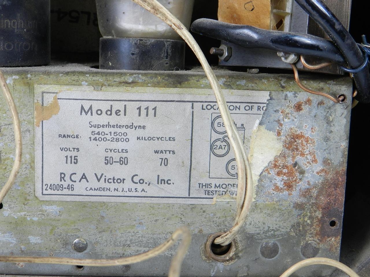 Imagen RADIO RCA VICTOR MODELO 111 29074