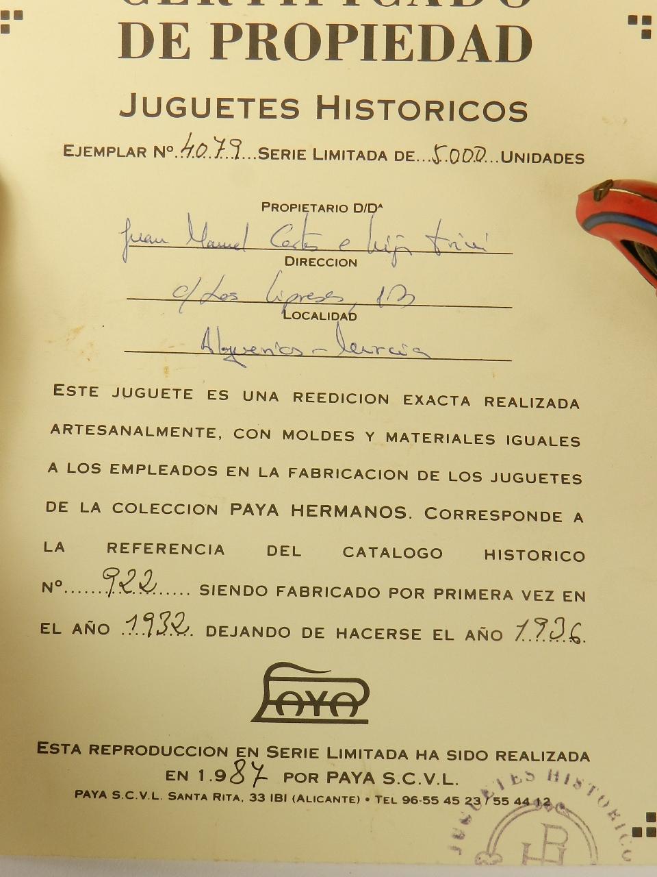 Imagen JUGUETE PAYA MOTORISTA AÑO 1987 33903