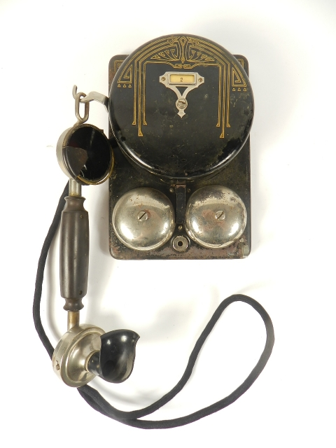 RARO TELEFONO DE PARED NEGRO AÑO 1920